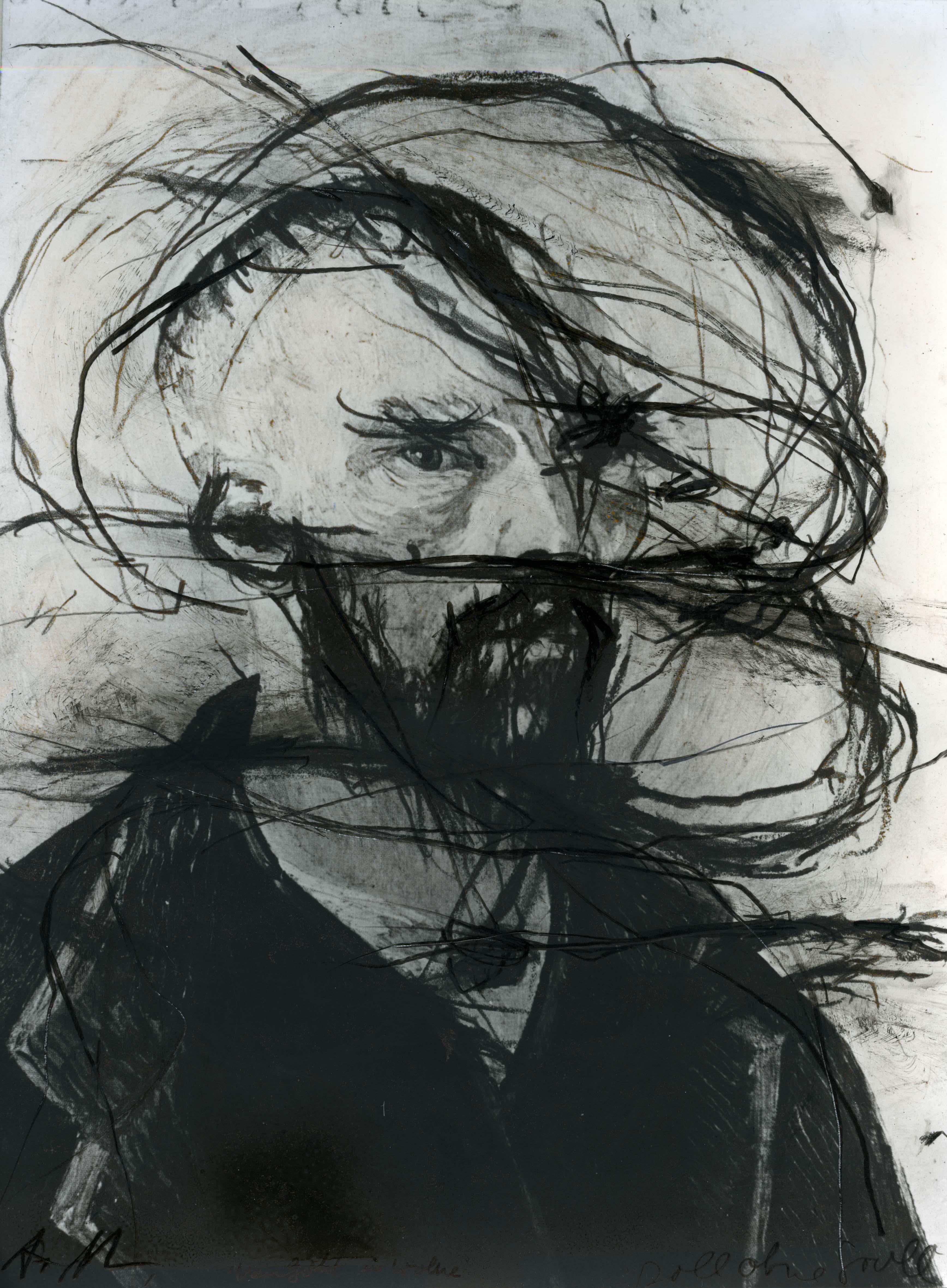 CollectieKunstfondsVincentvanGoghHuis_ArnulfRainer_Van Gogh in Wolke_1977_ Ubermalung_Geschenk F. Becht